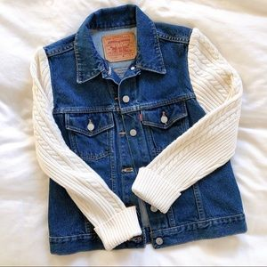 RARE Levi's Jean Jacket + Cable Sweater Sleeves